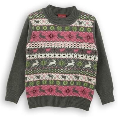 Lilliput Self Design Round Neck Casual Girl's Dark Green Sweater