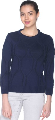 CLUB YORK Self Design Round Neck Casual Women's Blue Sweater