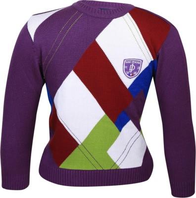 Duke Stardust Checkered Round Neck Casual Women's Purple Sweater