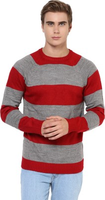 Yepme Striped Round Neck Casual Men,s Red, Grey Sweater