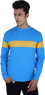 Provogue Solid Round Neck Casual Men Blue Sweater
