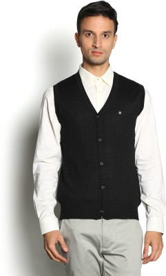 Blackberrys Solid V-neck Party Men Black Sweater