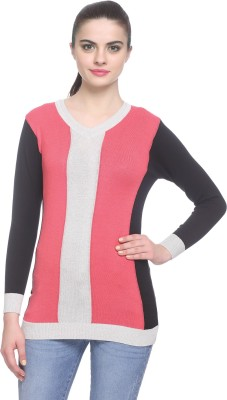 Miss Grace Self Design V-neck Party Women's Red Sweater