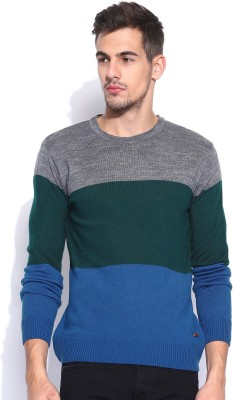 Mast & Harbour Striped Round Neck Casual Men's Blue Sweater