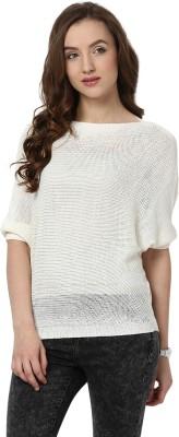 Yepme Solid Round Neck Casual Women's White Sweater