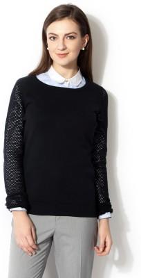 Van Heusen Self Design Round Neck Women's Dark Blue Sweater