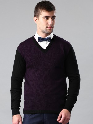 Invictus Self Design V-neck Casual Men,s Black, Purple Sweater