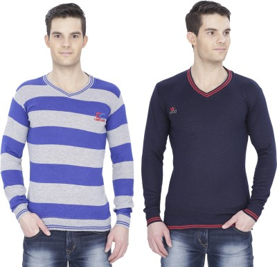 Alay Solid, Striped V-neck Casual, Party, Formal, Sports, Festive, Lounge Wear Men's Black, Dark Blue Sweater