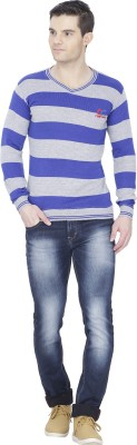 Alay Striped V-neck Casual Men's Red Sweater