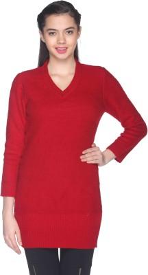 CLUB YORK Self Design V-neck Casual Women's Red Sweater