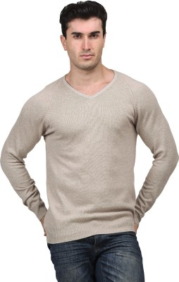 Mettle Solid V-neck Men's Brown Sweater