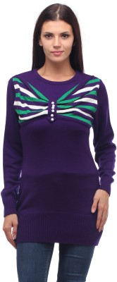 Stylistry Striped Round Neck Casual Women's Purple Sweater