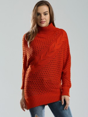 D Muse by DressBerry Self Design Turtle Neck Casual Women's Red Sweater