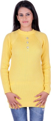 eCools Solid Turtle Neck Party Women's Yellow Sweater
