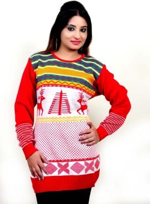Laadli Ji Printed Round Neck Women,s Red Sweater