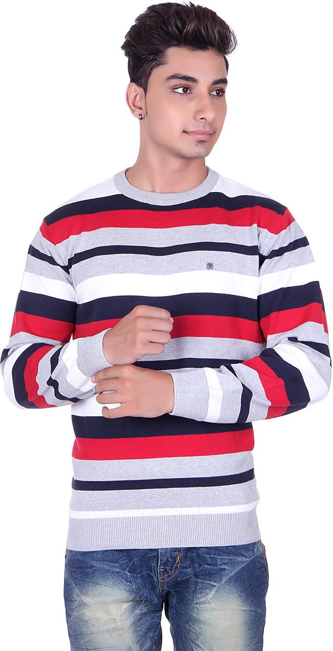 Pierre Carlo Solid, Striped Round Neck Casual Men Grey Sweater