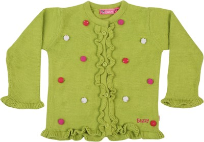 Buzzy Solid Round Neck Casual Baby Boys Green Sweater