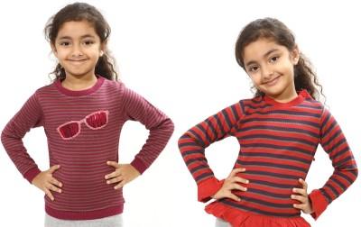 Bio Kid Striped Round Neck Casual Girl's Multicolor Sweater
