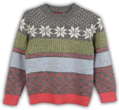 Lilliput Self Design Round Neck Casual Girls Multicolor Sweater