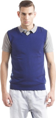 Prym Solid V-neck Casual Men's Blue Sweater