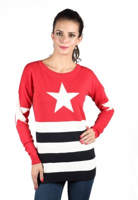 Again Striped Round Neck Casual Women's Red Sweater