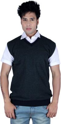 Deutz Solid V-neck Casual Men's Dark Blue Sweater