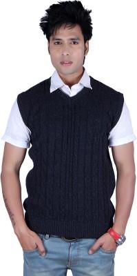 Deutz Solid, Self Design V-neck Casual, Festive, Formal, Party, Sports Men's Dark Blue Sweater