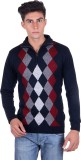 Fabtree Argyle, Solid Turtle Neck Casual...