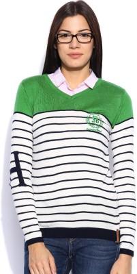 Harvard Striped V-neck Casual Women,s White Sweater