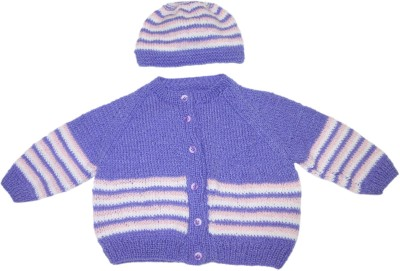 Ubique Self Design Round Neck Casual, Festive, Party Baby Boy,s, Baby Girl's Purple Sweater