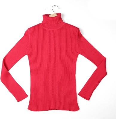 Allen Solly Self Design Turtle Neck Girl's Pink Sweater