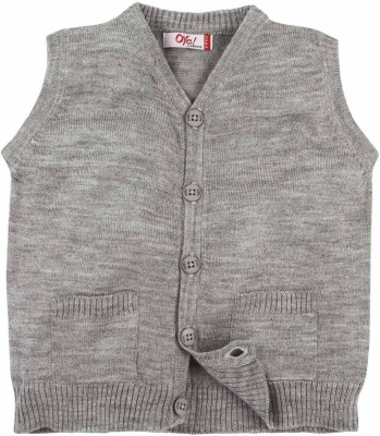 Oye Solid V-neck Casual Boy's Grey Sweater