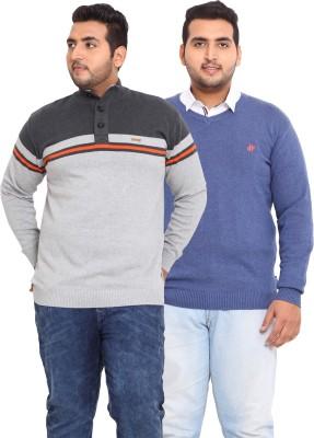 John Pride Solid V-neck Casual Men's Grey, Blue Sweater