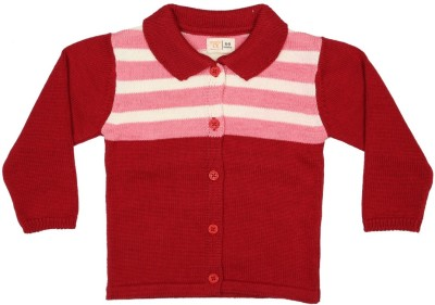 Baby Pure Striped V-neck Casual Baby Girl's Red Sweater