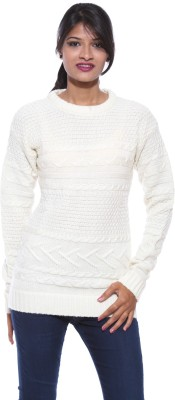 Pepe Solid Round Neck Casual Women's White Sweater