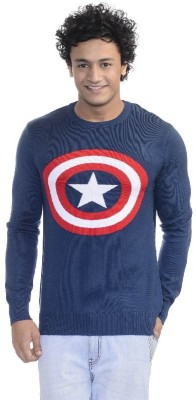 Captain America Printed Round Neck Casual Men's Blue Sweater