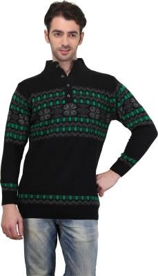 BRAVEZI Graphic Print Turtle Neck Casual Men,s Black, Green Sweater