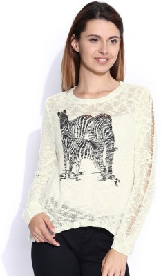 Mast & Harbour Printed Round Neck Casual Women,s White Sweater