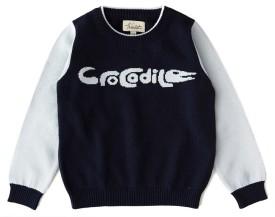 Weedots Printed Round Neck Casual Boys Dark Blue Sweater
