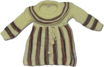 Bebzcozzy Striped Round Neck Girl's Beige Sweater