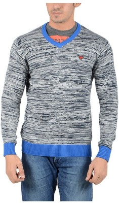 Reveller Striped V-neck Casual Men's Blue Sweater