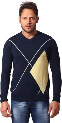 Club Fox Graphic Print V-neck Casual Men's Dark Blue Sweater