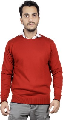 Numero Uno Solid Round Neck Casual Men's Orange Sweater
