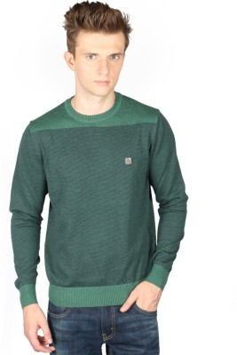 Again Striped Round Neck Casual Men's Green Sweater