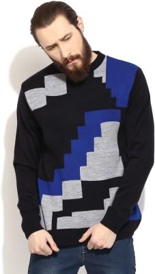 COBB Checkered Round Neck Casual Men's Black Sweater