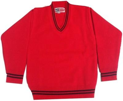 Rajindras Self Design V-neck Casual Boy's Red Sweater