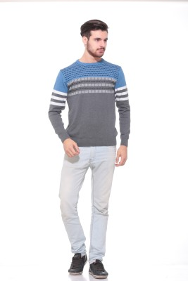 Pro Riders Solid Round Neck Casual Men's Grey, Blue Sweater