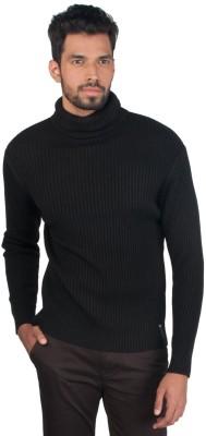 Provogue Solid Turtle Neck Casual Men's Black Sweater