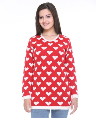 Cee-For Printed Round Neck Casual Women's Red Sweater