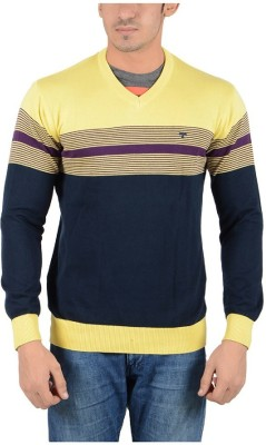 Reveller Striped V-neck Casual Men's Yellow Sweater